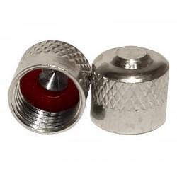 Paire de bouchon de valve en laiton nickelé avec joint